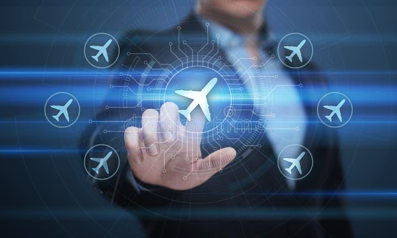 Conceito do transporte do curso da tecnologia do negócio com planos em todo o mundo foto de stock royalty free