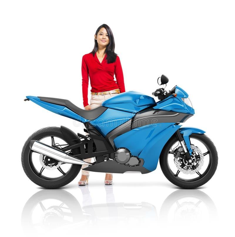 Conceito do transporte da barata da bicicleta da motocicleta do velomotor ilustração do vetor