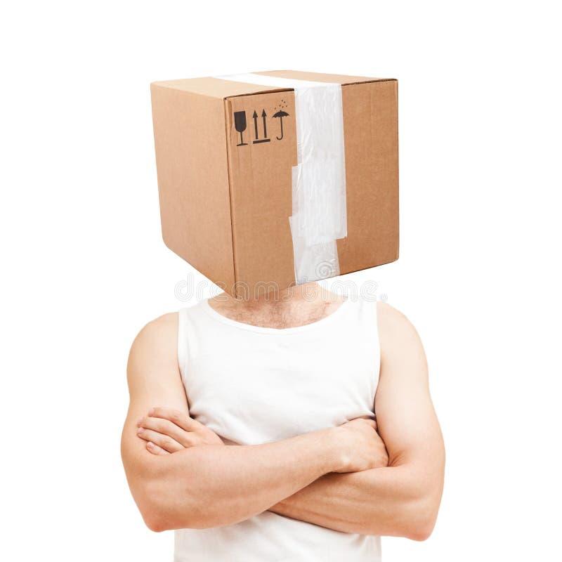 Conceito do transporte homem com caixa de cartão fotografia de stock