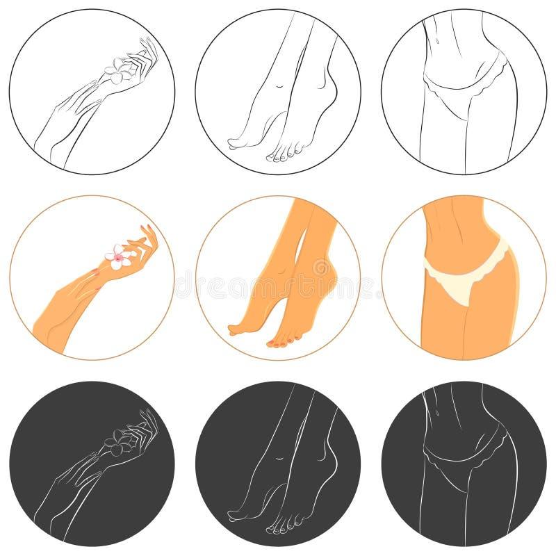 Conceito do tratamento de mãos, do pedicure e do bodycare Grupo do ícone ilustração stock