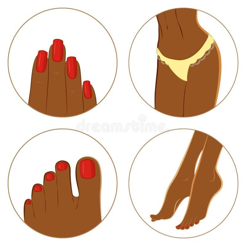 Conceito do tratamento de mãos, do pedicure e do bodycare Grupo do ícone ilustração royalty free