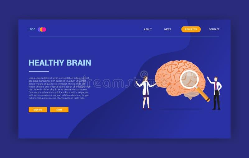 Conceito do tratamento do doutor da saúde do cérebro humano para o molde da página da aterrissagem do projeto do Web site - ilustração stock