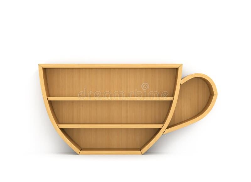 Conceito do treinamento Estante vazia no formulário do copo de café Scie ilustração stock