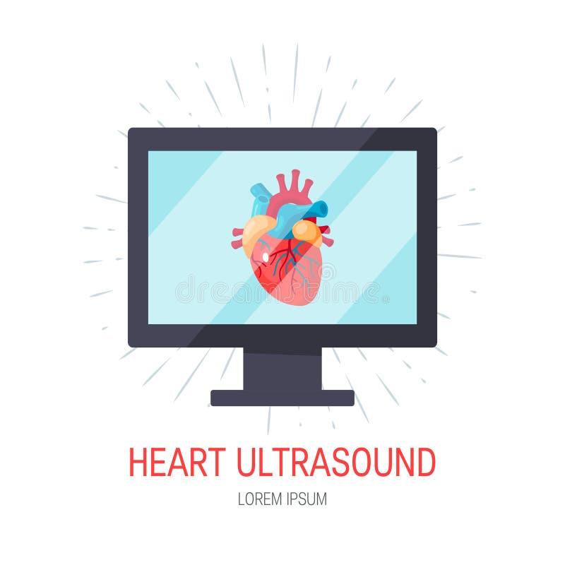 Conceito do ultrassom do coração no estilo liso, vetor ilustração stock