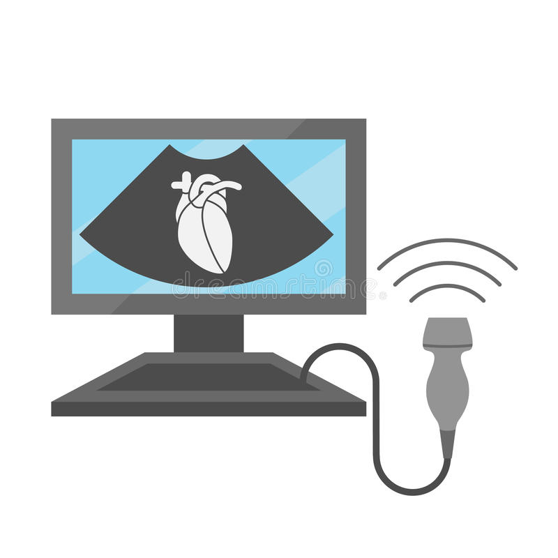 Conceito do ultrassom do coração ilustração do vetor