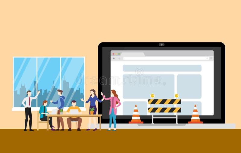 Conceito do underconstruction do Web site com os povos da equipe que trabalham no símbolo da programação e da construção - vetor ilustração stock