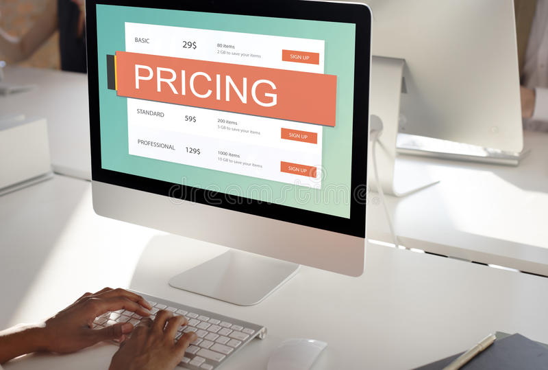 Conceito do valor da promoção do preço da fixação do preço de mercado fotografia de stock