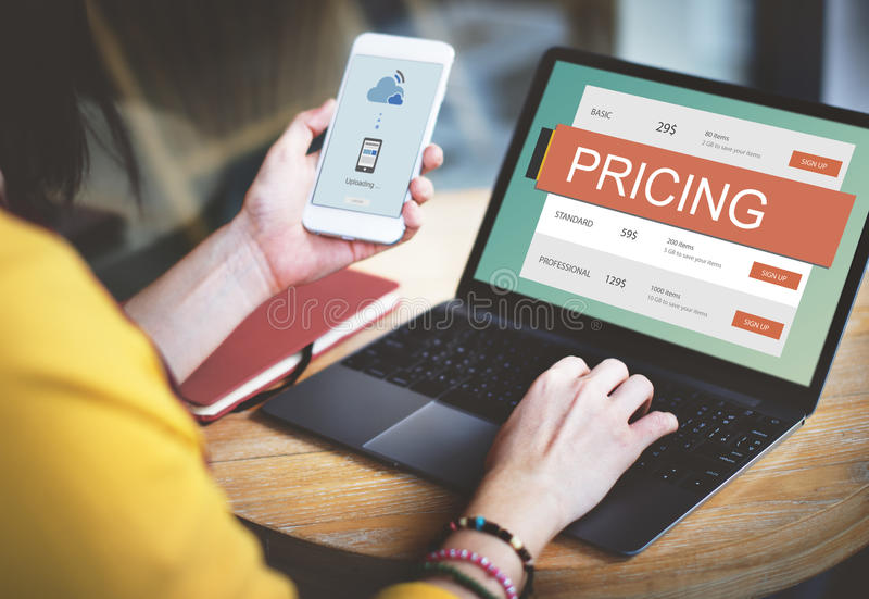 Conceito do valor da promoção do preço da fixação do preço de mercado foto de stock royalty free