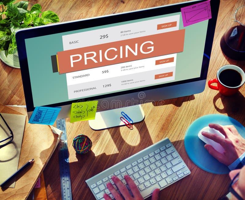 Conceito do valor da promoção do preço da fixação do preço de mercado fotos de stock