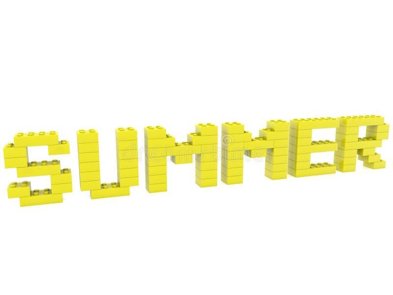 Conceito do verão construído dos tijolos do brinquedo ilustração do vetor