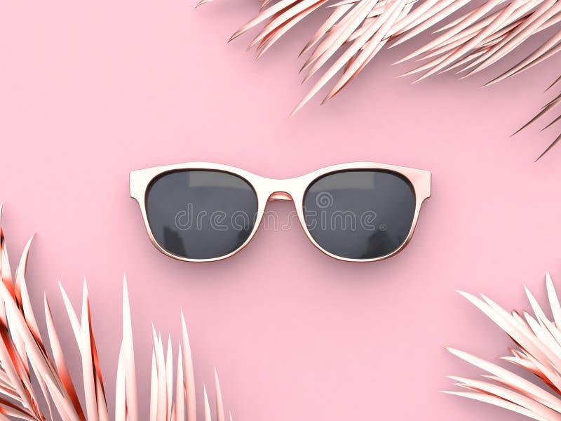 conceito do verão dos óculos de sol do sumário da cena do rosa da rendição 3d ilustração do vetor