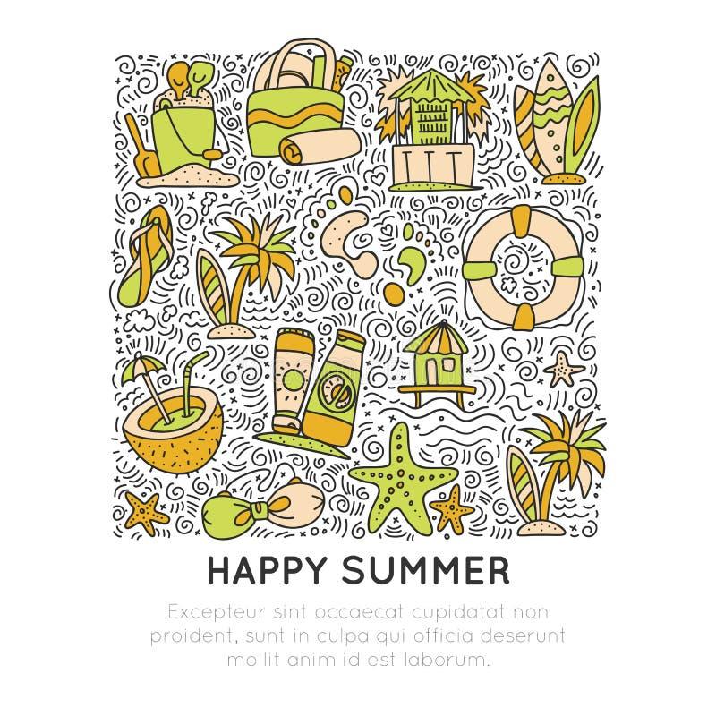 Conceito do verão e do ícone da tração da mão da praia Coleção dos ícones do verão do curso no formulário quadrado com elementos  ilustração do vetor