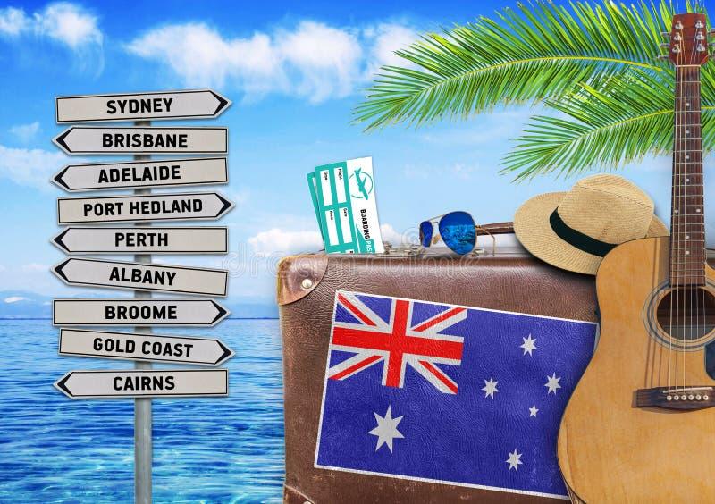 Conceito do verão que viaja com mala de viagem e a Austrália velhas ilustração royalty free