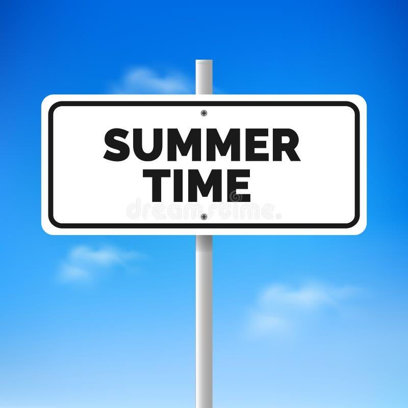 Conceito do verão Tráfego do sinal de estrada com horas de verão do texto ilustração stock