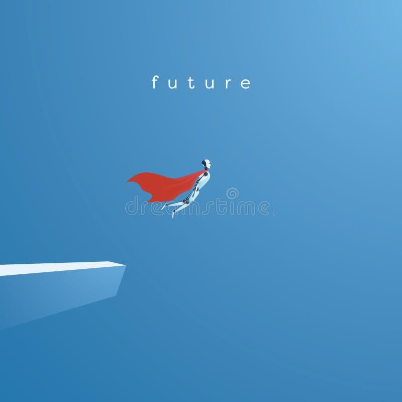 Conceito do vetor do Ai ou da inteligência artificial com voo do robô do ai como o super-herói Símbolo da tecnologia futura, avan ilustração stock