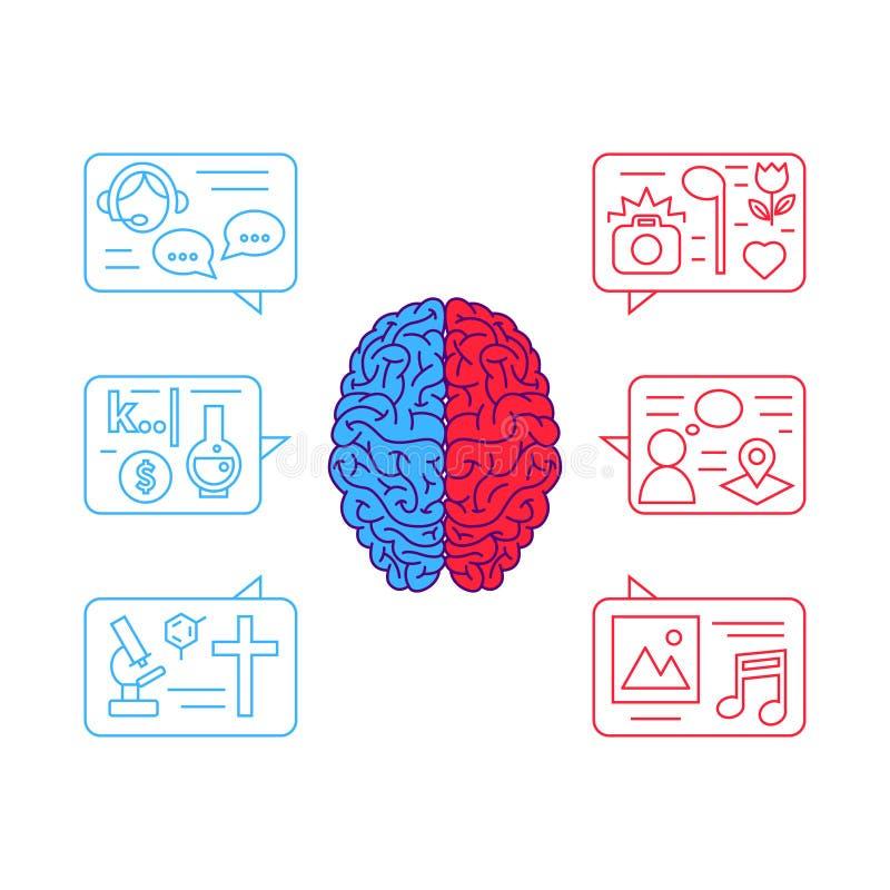 Conceito do vetor do cérebro humano ilustração royalty free