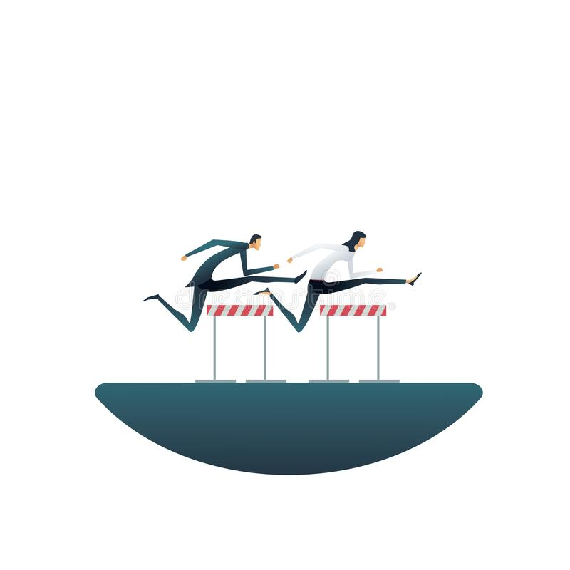 Conceito do vetor da competição do negócio com obstáculos de salto da mulher de negócios e do homem de negócios Símbolo da compet ilustração do vetor