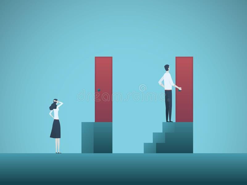 Conceito do vetor da desigualdade da diferença de gênero do negócio Símbolo da discriminação na carreira, diferença do salário, i ilustração stock