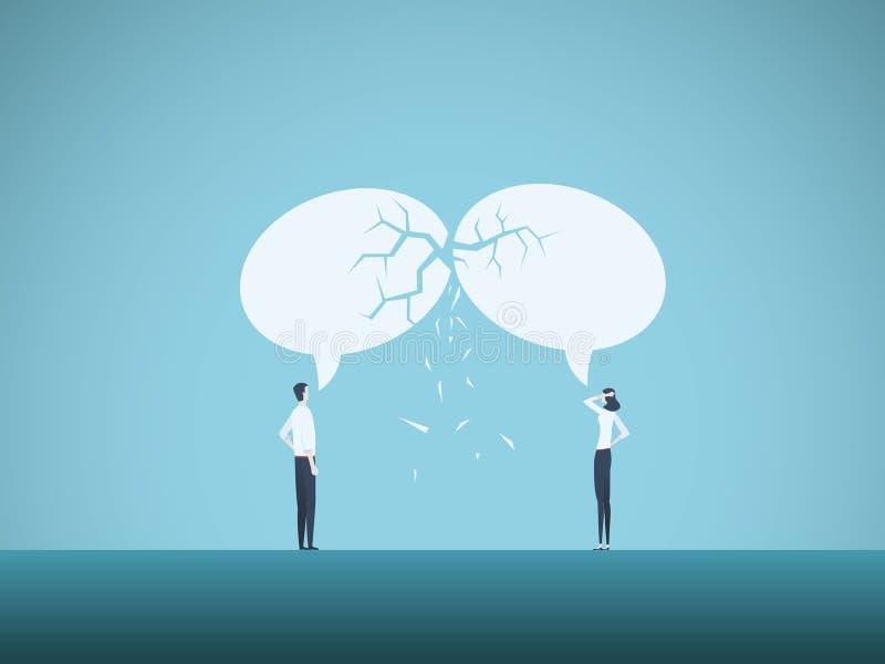 Conceito do vetor da divisão de comunicação empresarial Símbolo do engano, problemas da negociação, miscommunication ilustração royalty free