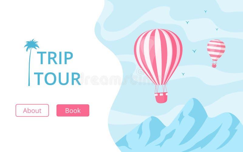 Conceito do vetor da excursão da viagem do registro do balão de ar quente ilustração do vetor
