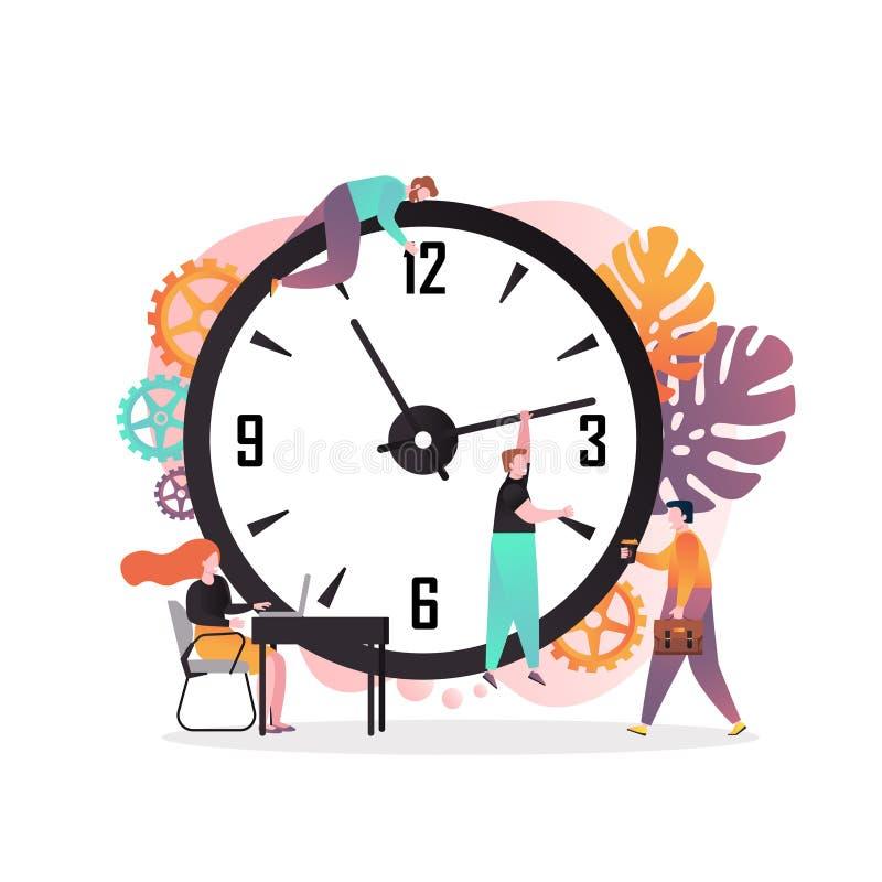 Conceito do vetor da gestão de tempo para a bandeira da Web, página do Web site ilustração royalty free