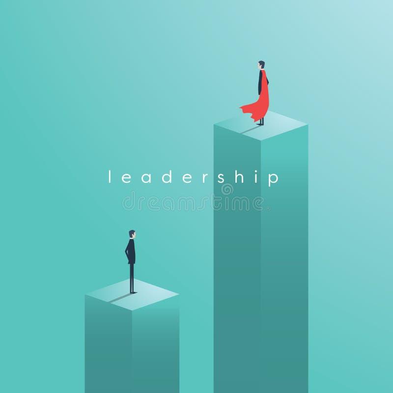 Conceito do vetor da liderança do negócio com o líder como o super-herói ilustração royalty free