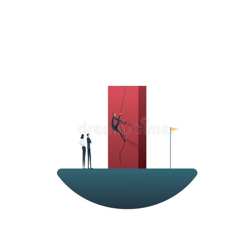 Conceito do vetor da liderança do negócio com o homem de negócios que escala sobre a parede para o objetivo Símbolo do líder de n ilustração royalty free