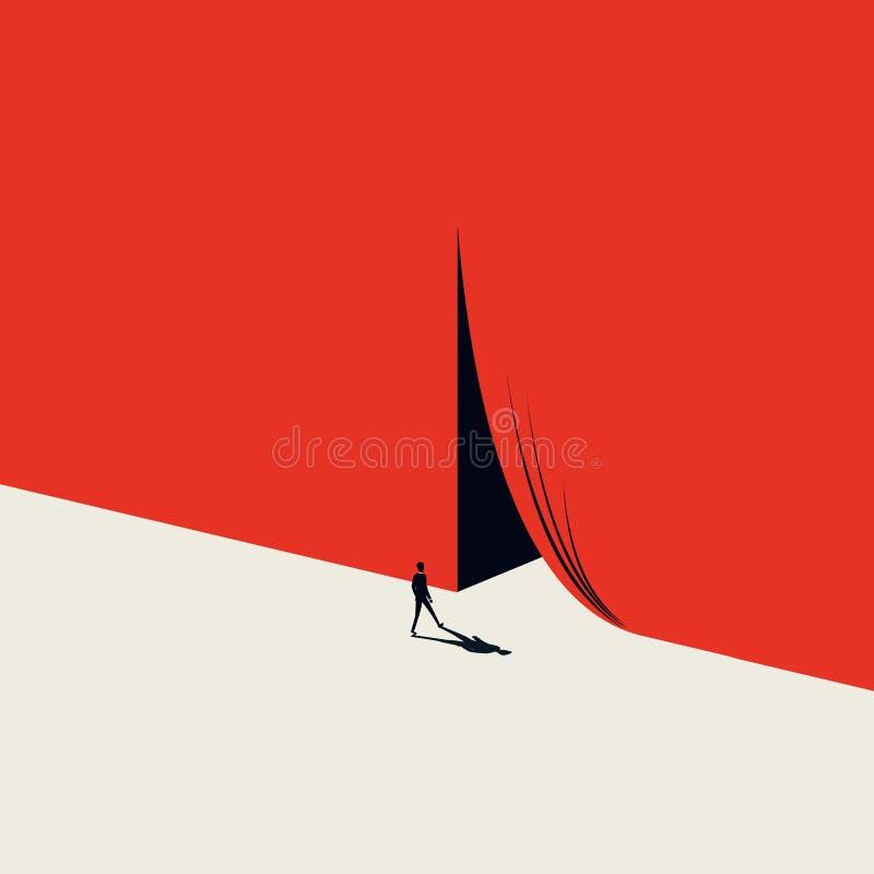Conceito do vetor da oportunidade do neg?cio ou da carreira com o homem que anda ?s cortinas de abertura Estilo minimalista da ar ilustração do vetor