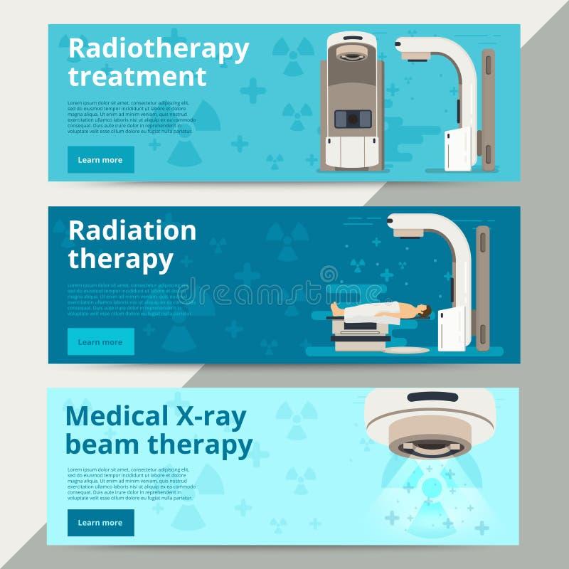 Conceito do vetor da radioterapia Tratamento contra o câncer