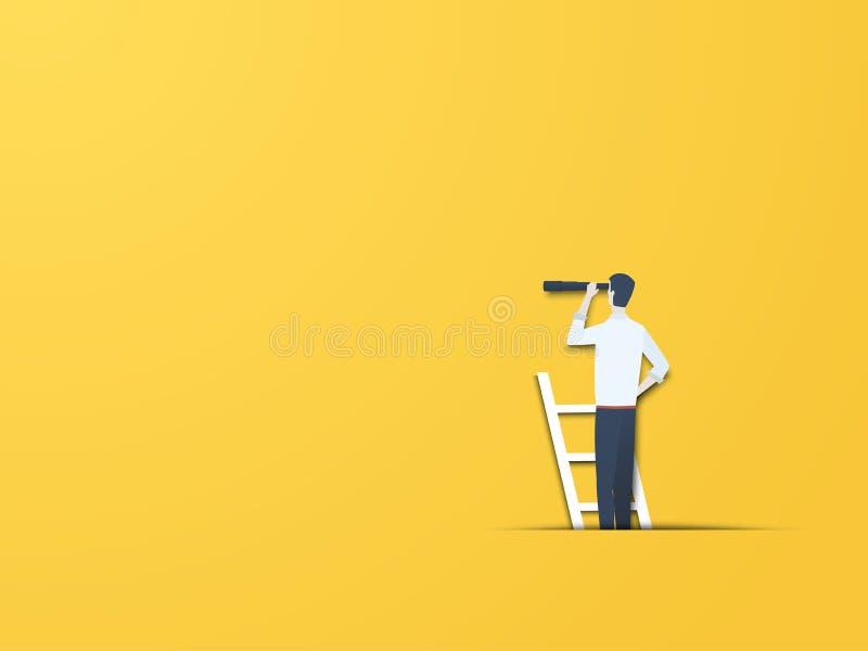 Conceito do vetor da visão do negócio com homem de negócios em uma escada com telescópio Estilo de papel moderno do entalhe Símbo ilustração do vetor