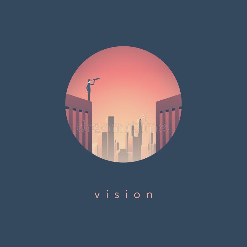Conceito do vetor da visão do negócio com o homem de negócios que está no arranha-céus com skyline incorporada no fundo Símbolo d ilustração do vetor