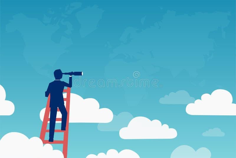 Conceito do vetor da visão do negócio com o homem de negócios que está sobre a escada acima das nuvens que procuram oportunidades ilustração royalty free