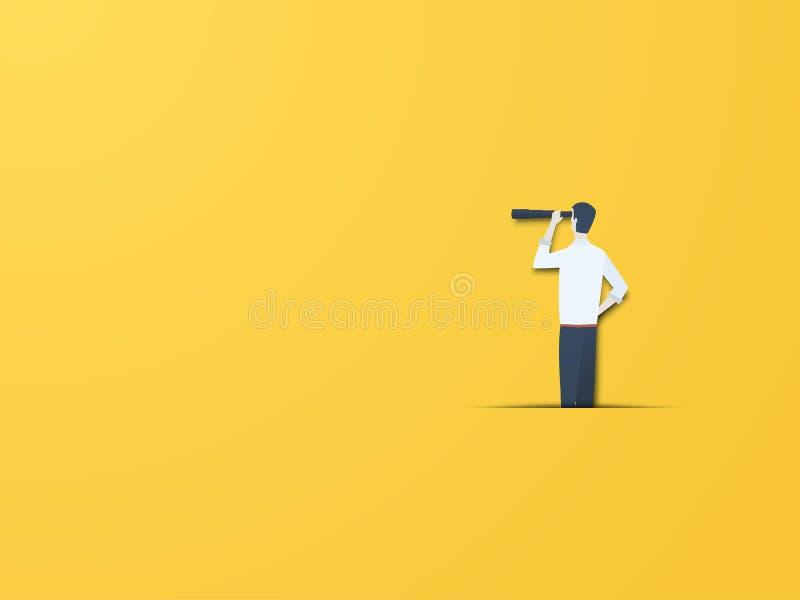 Conceito do vetor da visão do negócio com o homem de negócios com telescópio Estilo de papel moderno do entalhe Símbolo do vision ilustração stock