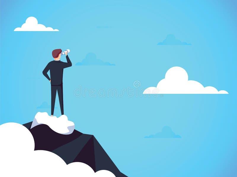 Conceito do vetor da visão do negócio com o homem de negócio que está sobre a montanha acima das nuvens Símbolo de oportunidades  ilustração stock