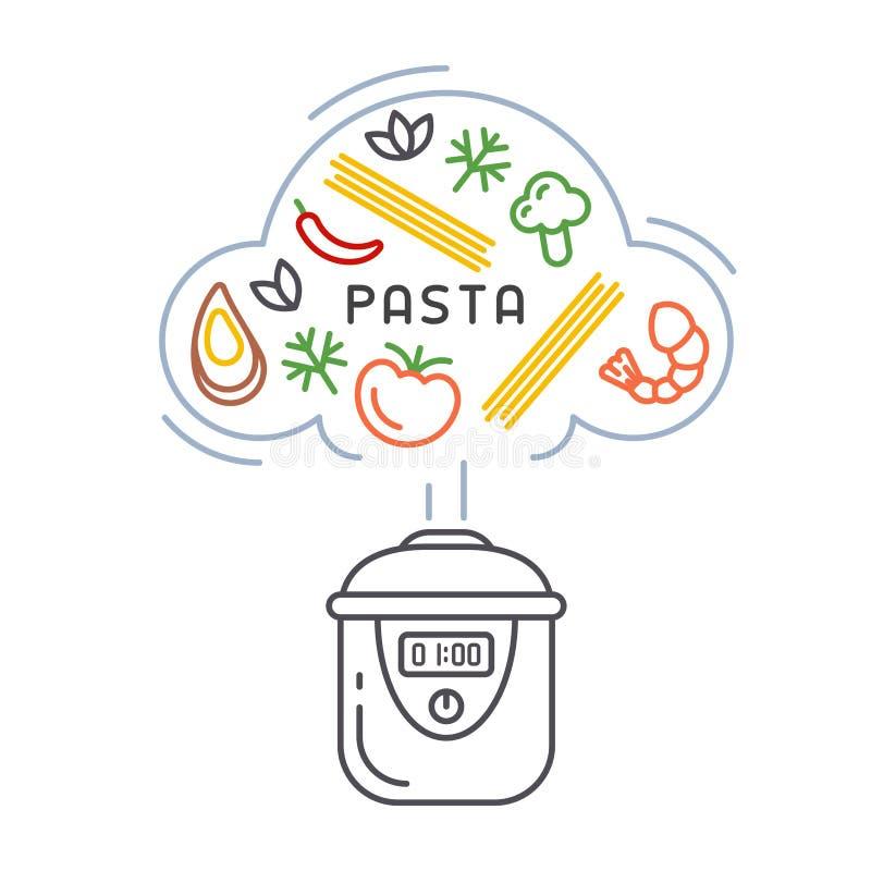 Conceito do vetor de cozinhar a massa em um fogão lento ilustração stock