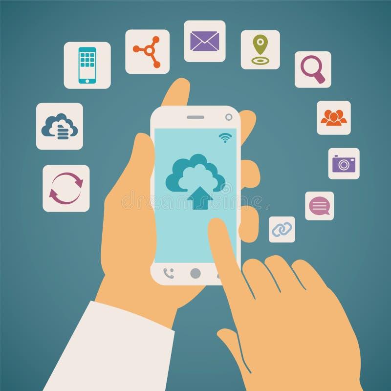 Conceito do vetor de serviços da nuvem no telefone celular ilustração stock