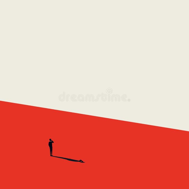 Conceito do vetor de uma comunicação empresarial Homem de negócios que fala no smartphone Estilo minimalista do artista Símbolo d ilustração stock