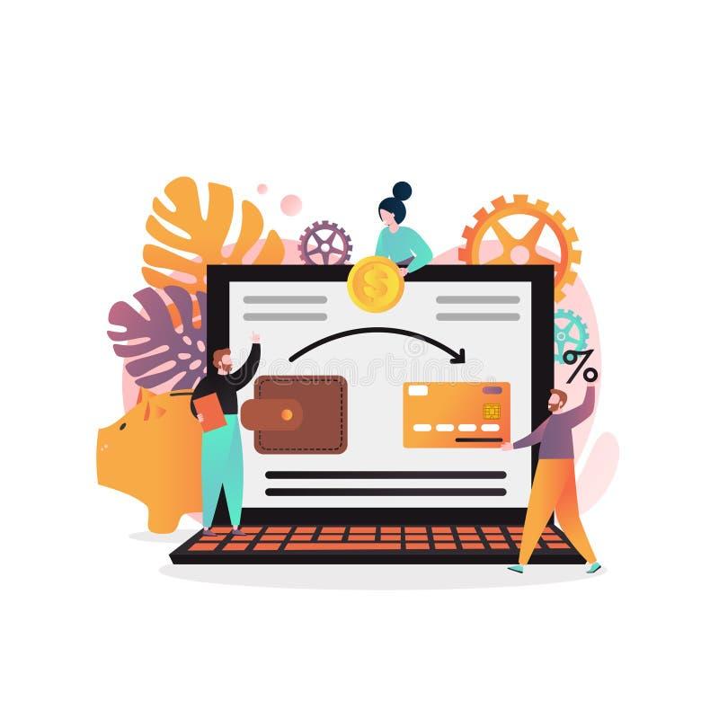 Conceito do vetor depositar em linha para a bandeira da Web, página do Web site ilustração stock