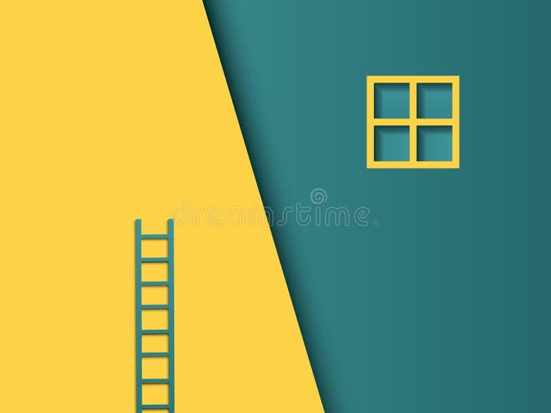 Conceito do vetor do desafio do negócio com escada coloqu mal Estilo de papel moderno do vetor do entalhe Símbolo do trabalho dur ilustração royalty free