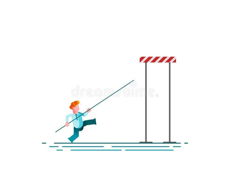 Conceito do vetor do desafio do negócio com o salto com vara de salto do homem de negócios sobre a barreira Símbolo da motivação, ilustração stock