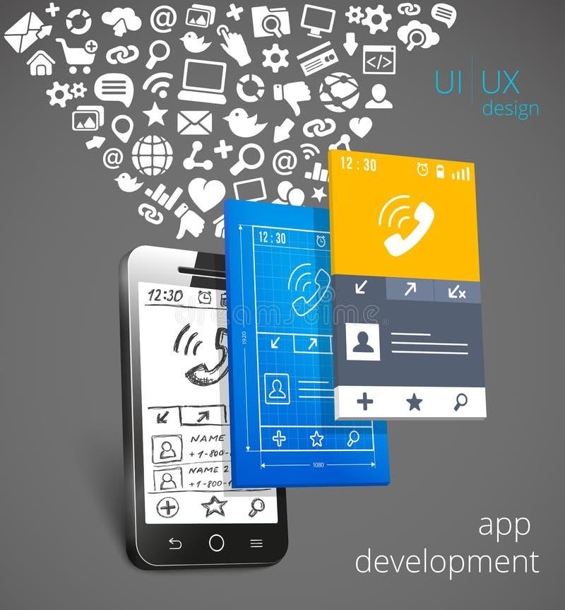 Conceito do vetor do desenvolvimento do App ilustração royalty free