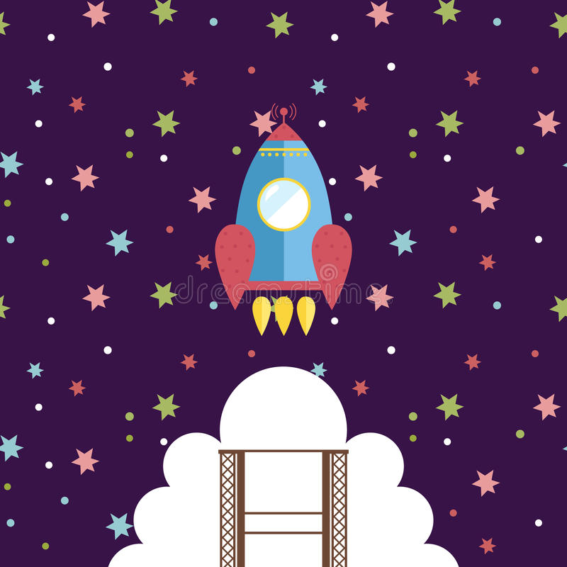 Conceito do vetor do estilo dos desenhos animados da exploração do espaço ilustração stock