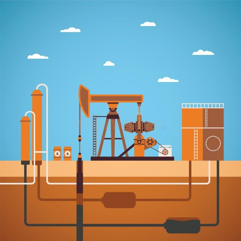 Conceito do vetor do poço de petróleo equipado ilustração royalty free