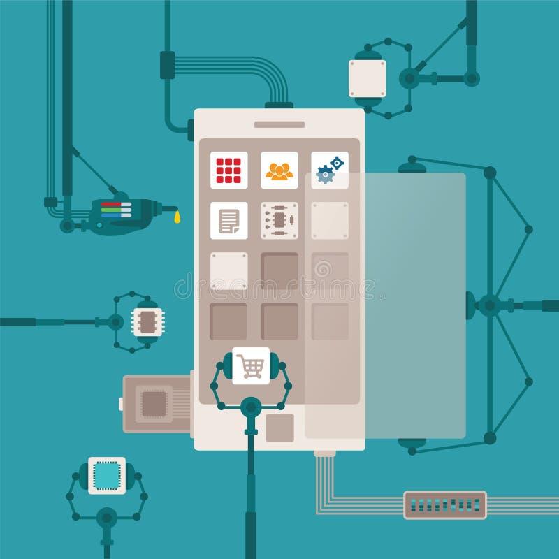 Conceito do vetor do processo de desenvolvimento de aplicações móvel do software ilustração royalty free