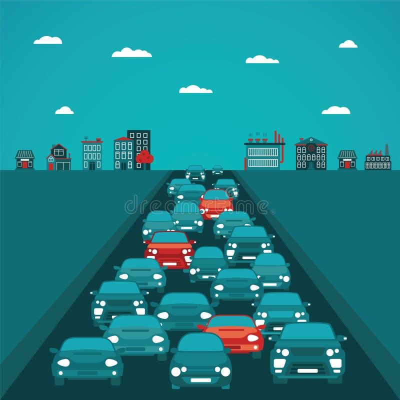 Conceito do vetor do tráfego urbano no estilo liso ilustração royalty free