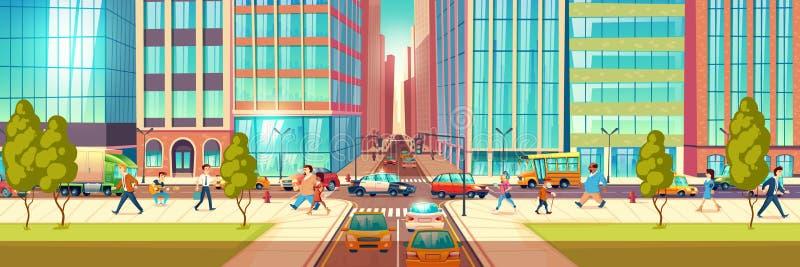 Conceito do vetor dos desenhos animados da rua movimentada da metrópole ilustração royalty free