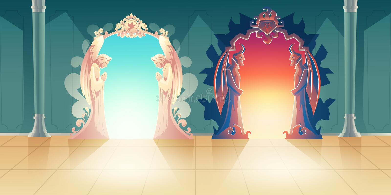 Conceito do vetor dos desenhos animados das entradas do céu e do inferno ilustração stock