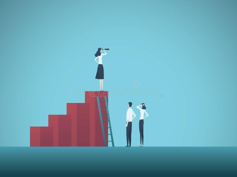 Conceito do vetor dos trabalhos de equipa e da estratégia do negócio Mulher de negócios que está na carta Símbolo do crescimento, ilustração do vetor
