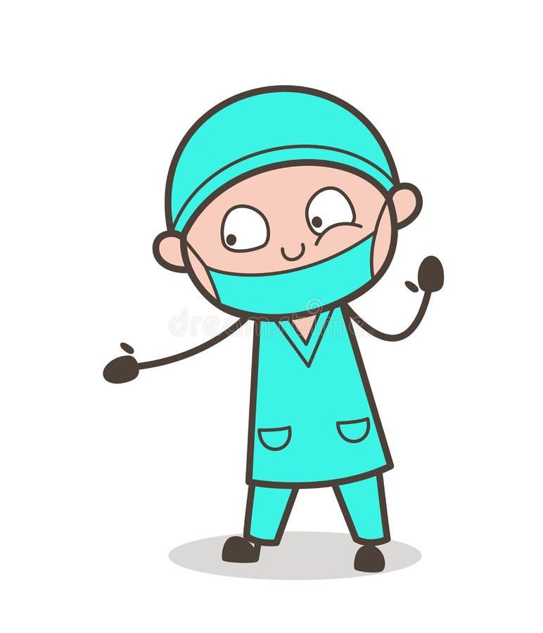 Conceito do vetor do doutor Showing Helping Hand dos desenhos animados ilustração stock