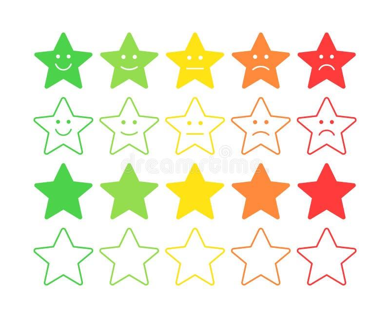 Conceito do vetor do feedback Grau da estrela, nível de avaliação de satisfação Terrível excelente, bom, normal, mau Feedback no  ilustração stock